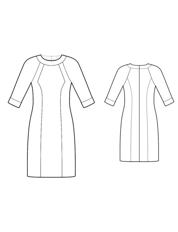 Fashion Designer Sewing Patterns - Raglan Sleeves Print/Color Block Knit Dress
