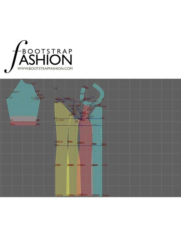 Fashion Designer Sewing Patterns - Raglan Sleeves Print/Color Block Knit Dress