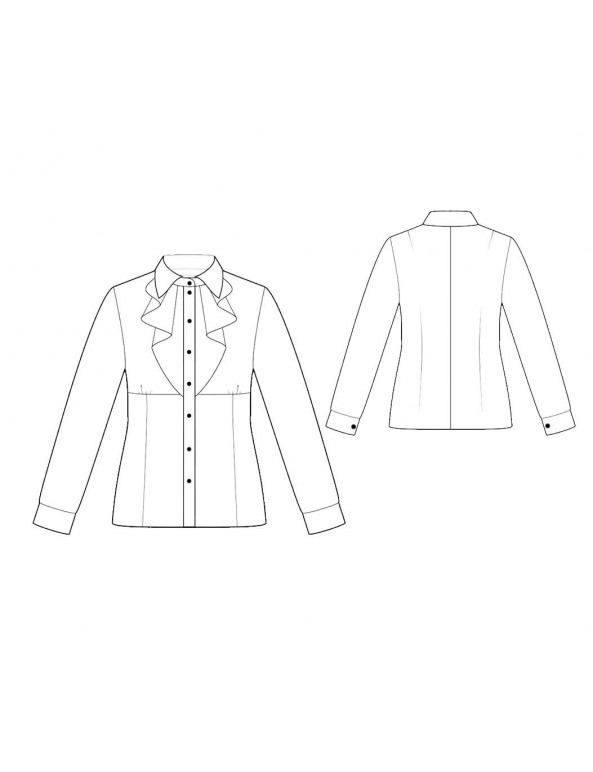 Fashion Designer Sewing Patterns - Long-Sleeved Tuxedo Shirt