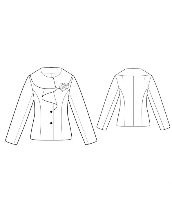 Fashion Designer Sewing Patterns - Long-Sleeved Jacket with Ruffle