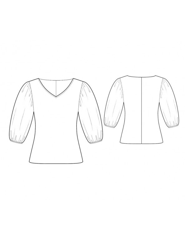 Fashion Designer Sewing Patterns - V-Neck Blouse with Puffy Sleeves