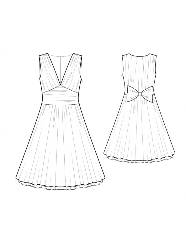 Fashion Designer Sewing Patterns - V Neck Sleeveless Dress With Full Skirt