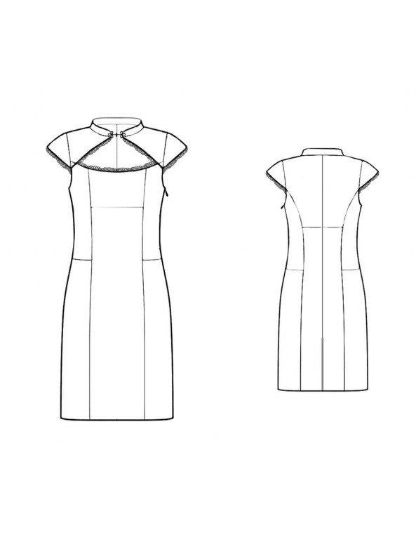 Fashion Designer Sewing Patterns - Mandarin Collar With Wide Keyhole Dress