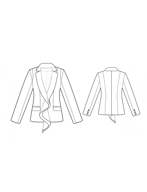 Fashion Designer Sewing Patterns - Tailored Ruffle Notched Lapel Jacket