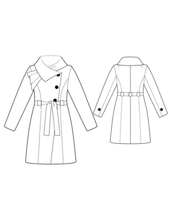 Fashion Designer Sewing Patterns - Asymmetrical Coat With Draped Collar And Tie