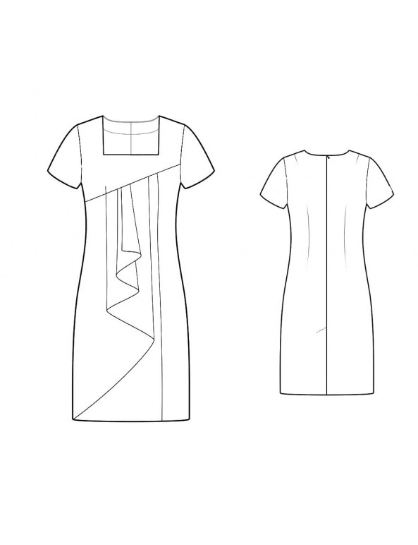 Fashion Designer Sewing Patterns - Square Neck Asymmetrical Drape Dress
