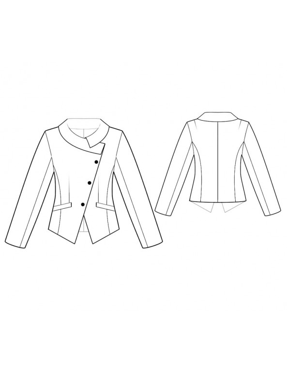 Fashion Designer Sewing Patterns - Long-Sleeved Jacket with Asymmetrical Closing