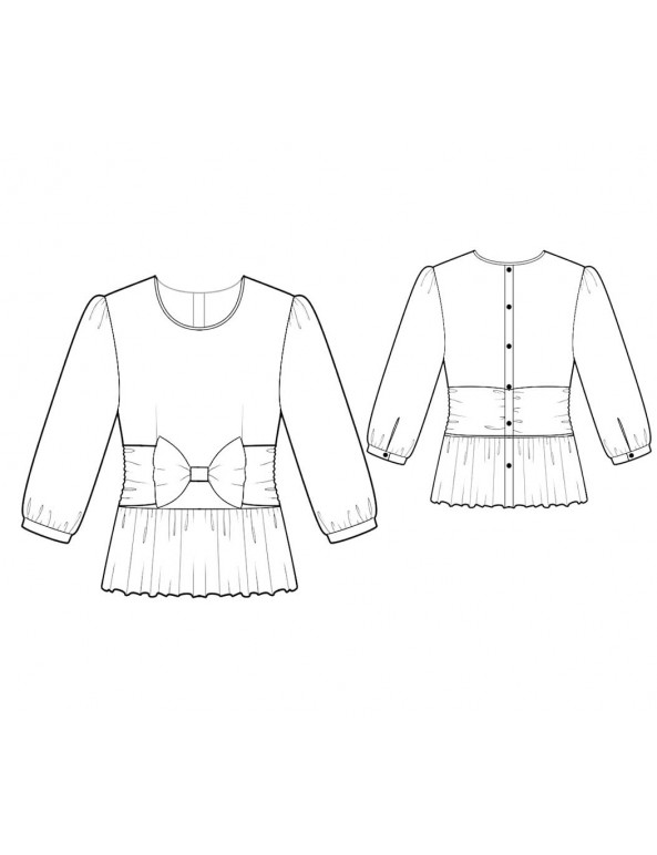 Fashion Designer Sewing Patterns - Round-Neck Blouse with Bow