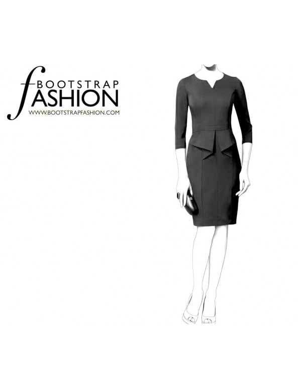 Fashion Designer Sewing Patterns - Split Neck Origami Peplum Dress
