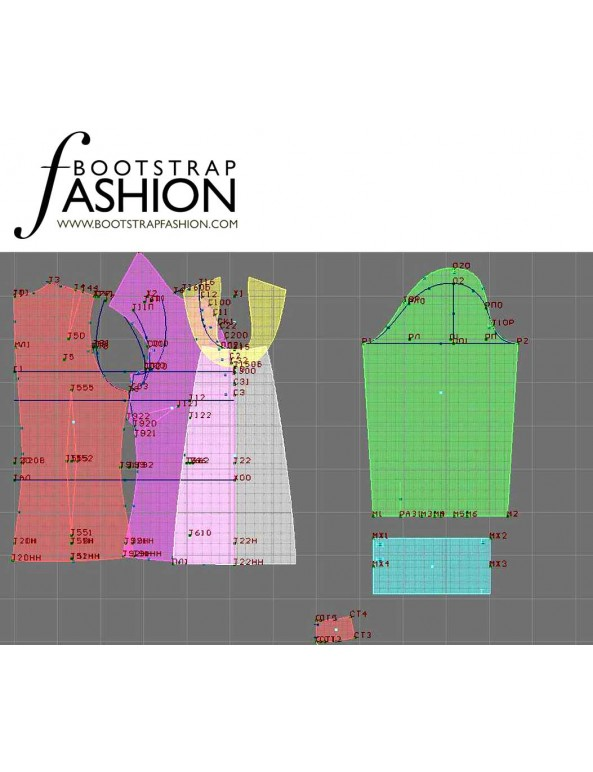 Fashion Designer Sewing Patterns - Long-Sleeved Blouse with Bib