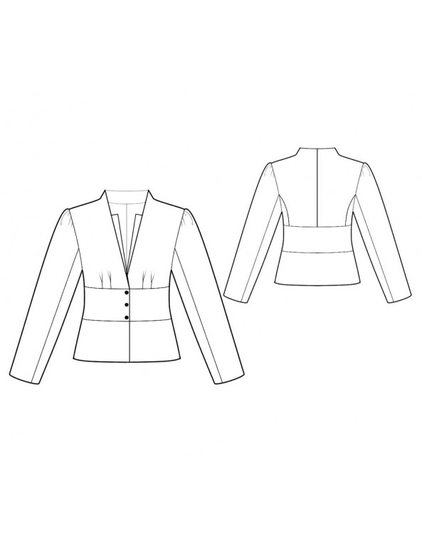 Fashion Designer Sewing Patterns - V-Neck Collarless Jacket