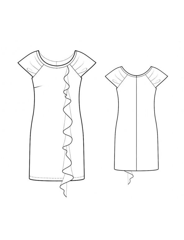 Fashion Designer Sewing Patterns - Wide Scoop Neck Cascading Front Knit Dress