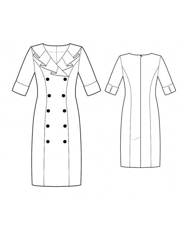 Fashion Designer Sewing Patterns - Pleated Collar Double- Breasted Coat Dress