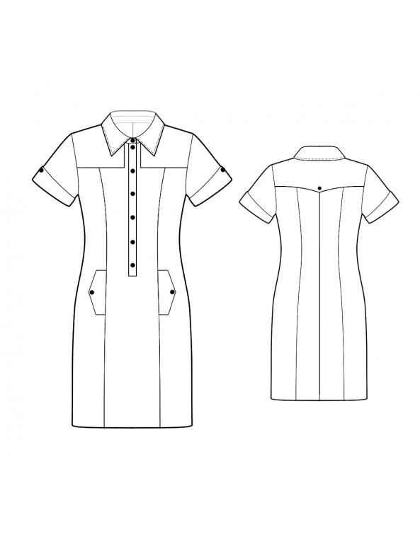 Fashion Designer Sewing Patterns - Button Front Shirt Dress