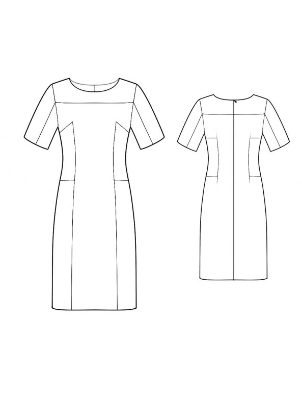 Fashion Designer Sewing Patterns - Boatneck Sculpted Blocked Dress