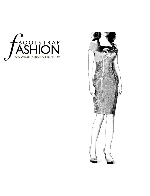 Fashion Designer Sewing Patterns - Square Drape Neck Dress