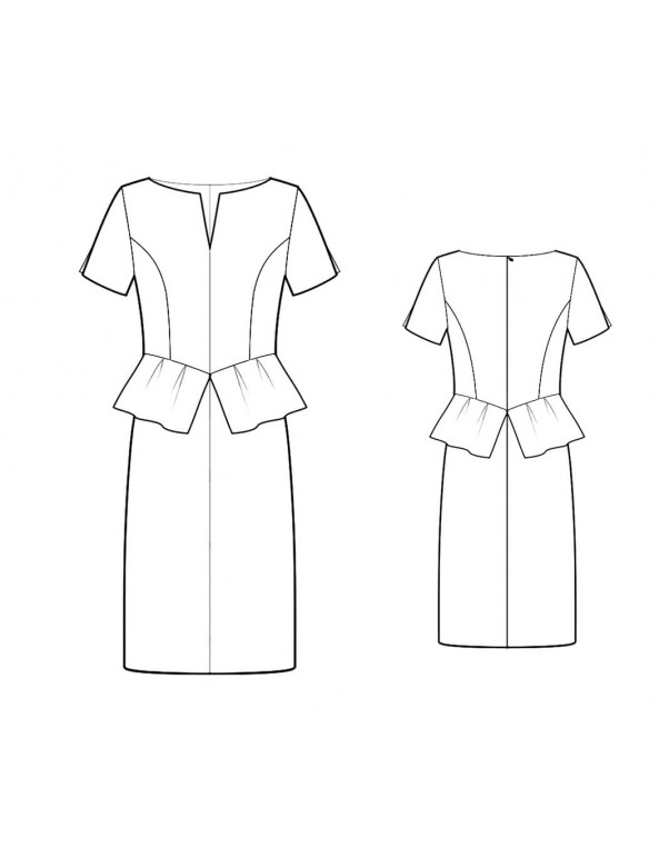 Fashion Designer Sewing Patterns - Split Neck Drop Waist Peplum Dress