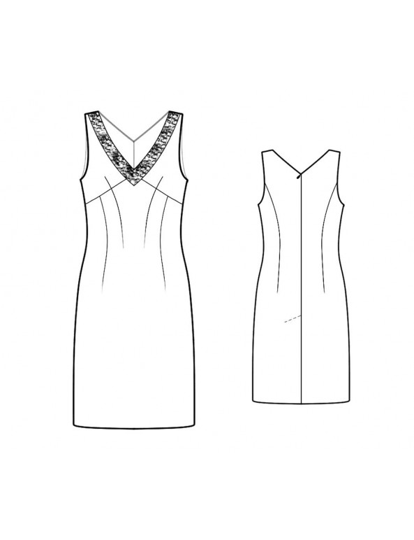Fashion Designer Sewing Patterns - V-Neck Sleeveless Sheath