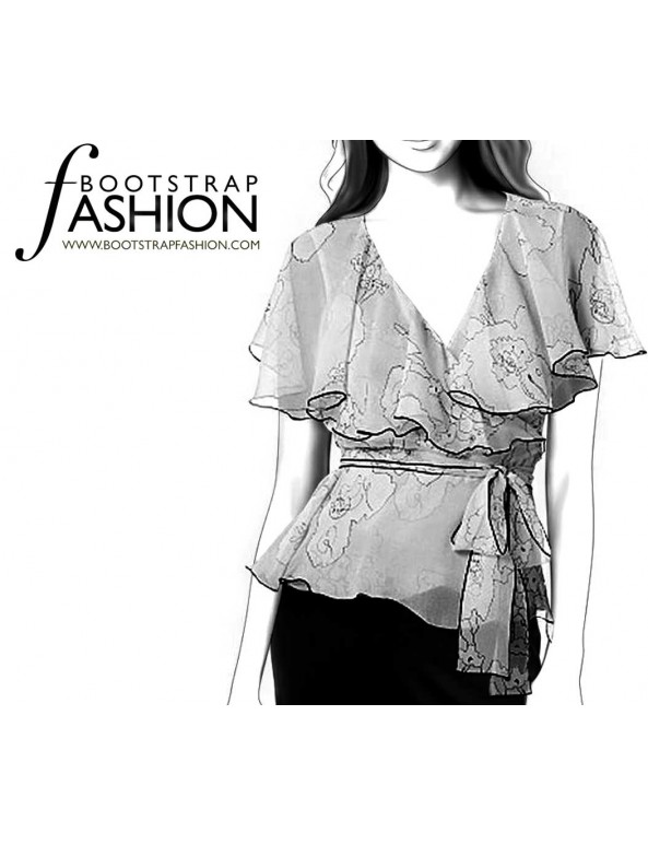 Fashion Designer Sewing Patterns - Shawl-Neck Blouse