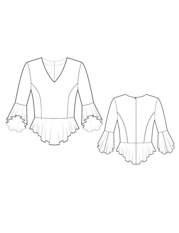 Fashion Designer Sewing Patterns - V-Neck Fitted Ruffle Blouse