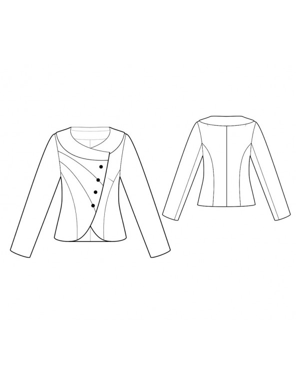 Fashion Designer Sewing Patterns - Round-Neck Asymmetrical Front Jacket