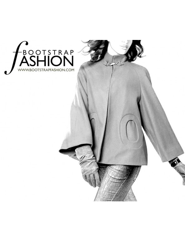 Fashion Designer Sewing Patterns - High-Collar Raglan Sleeve Jacket