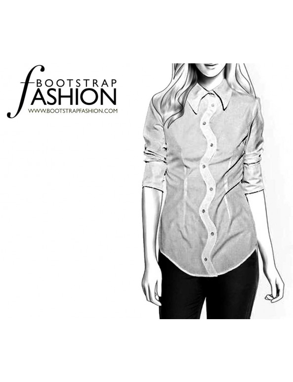 Fashion Designer Sewing Patterns - Shirt with Zig-Zag Button Closure
