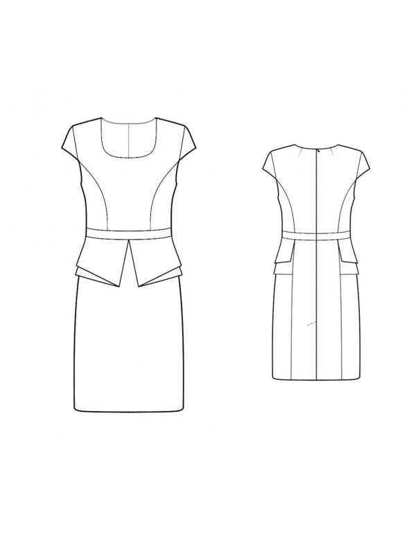Fashion Designer Sewing Patterns - Scoop Neck Origami Peplum Sheath