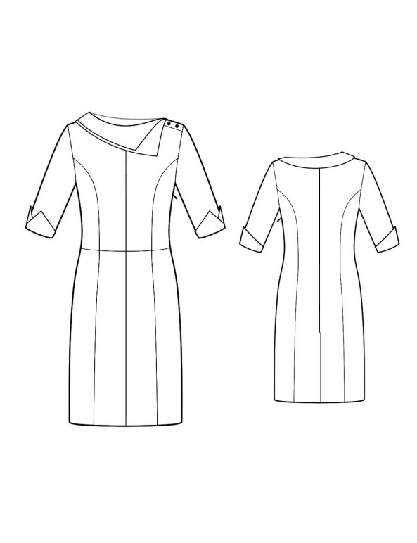 Fashion Designer Sewing Patterns - Princess Seams Asymmetrcal Collar Dress