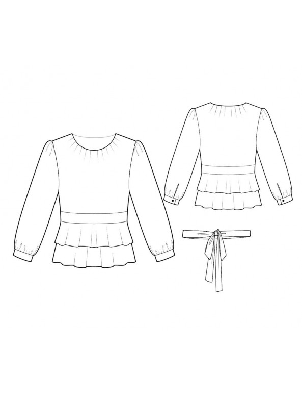 Fashion Designer Sewing Patterns - Round-Neck Double Peplum Blouse