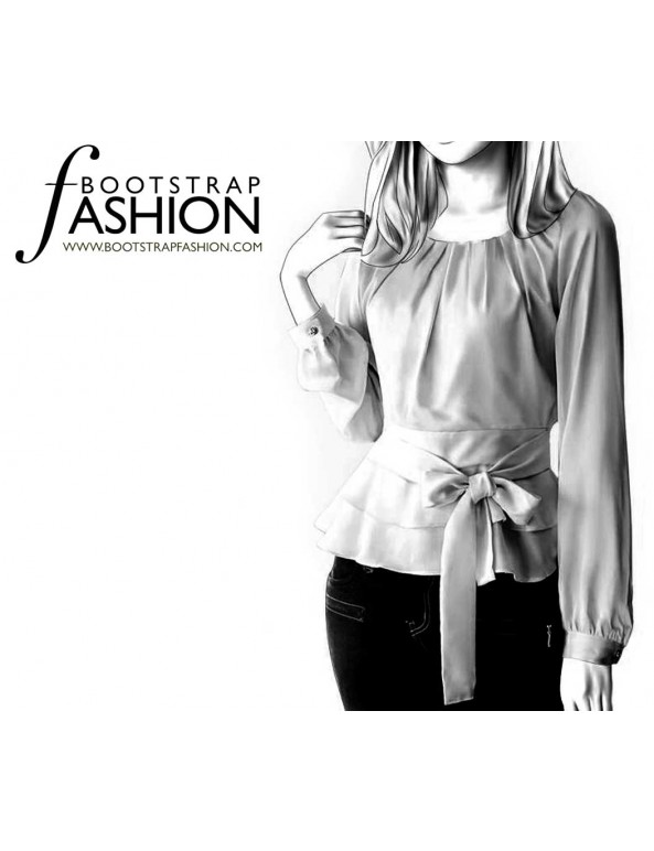 Fashion Designer Sewing Patterns - Round-Neck Double Peplum Blouse