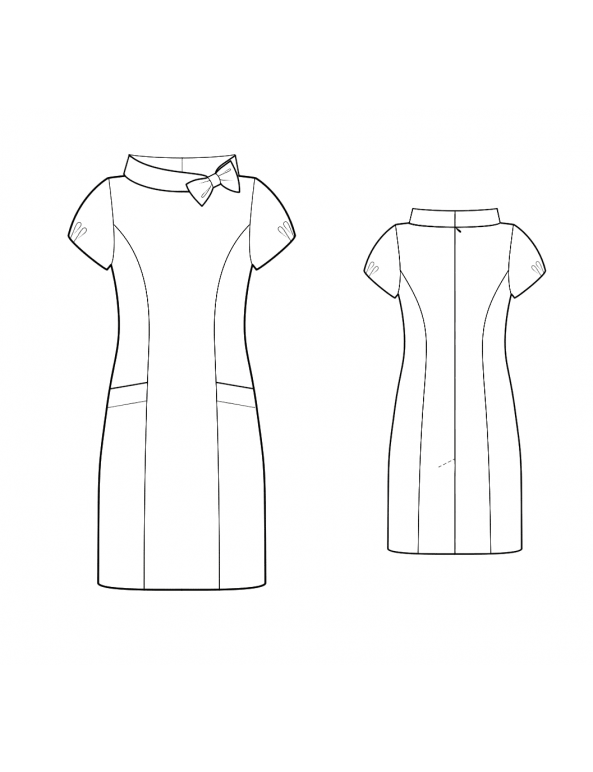 Fashion Designer Sewing Patterns - Portrait Stand Collar Dress