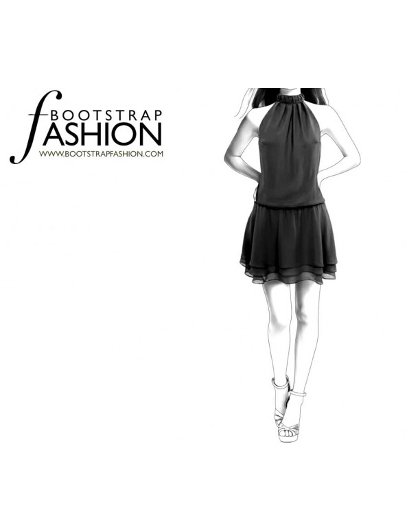 Fashion Designer Sewing Patterns - Drop Waist, Halter Dress