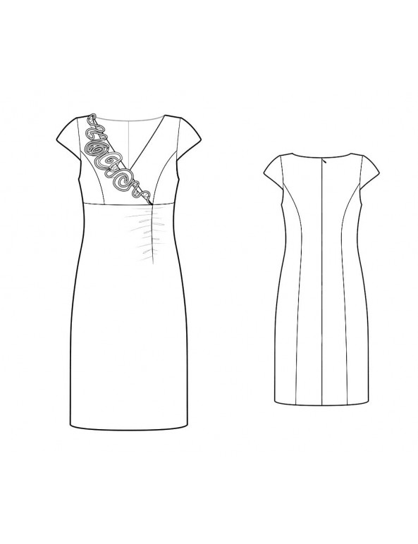 Fashion Designer Sewing Patterns - Rosette Embelished V-Neck Sheath