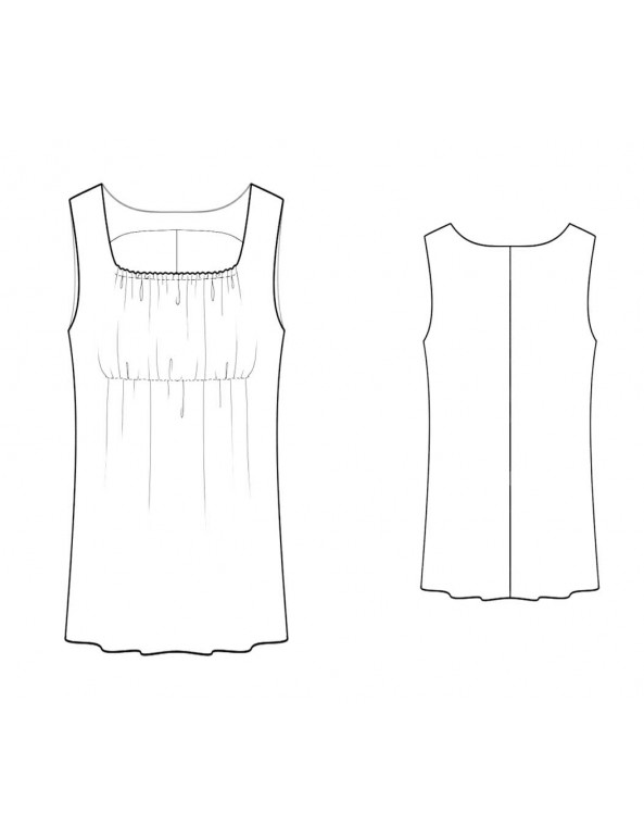 Fashion Designer Sewing Patterns - Square Neck Empire Waist Knit Tank