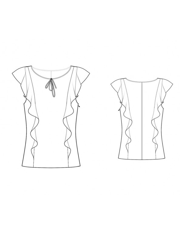 Fashion Designer Sewing Patterns - Capped-Sleeve Ruffle Blouse