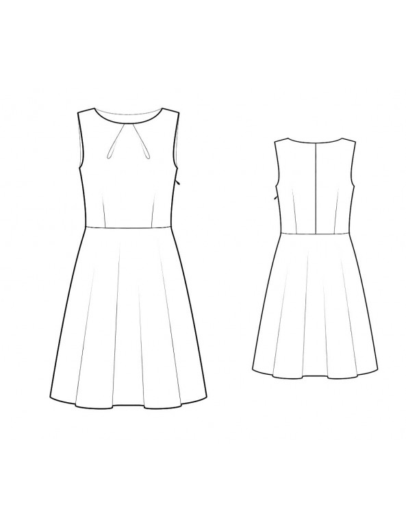 Fashion Designer Sewing Patterns - Pleated Crew Neck A-Line Skirt Dress