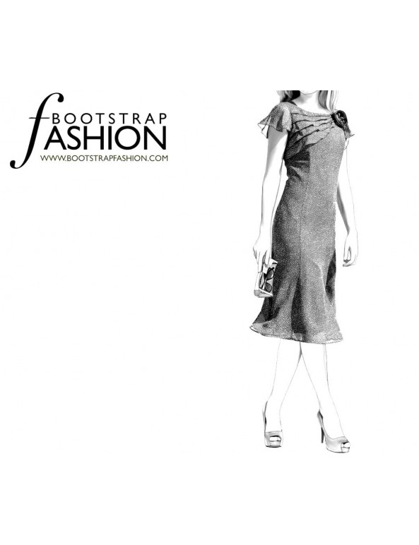 Fashion Designer Sewing Patterns - Chiffon Flutter Sleeves Dress