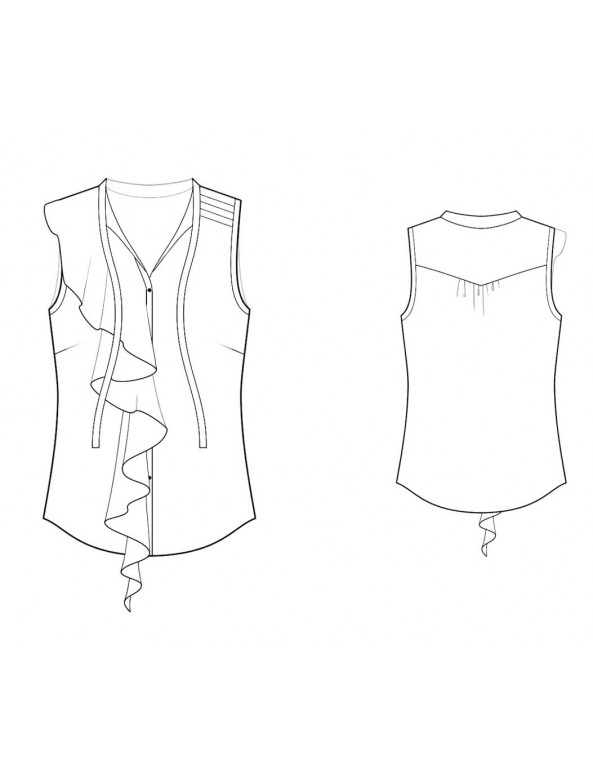 Fashion Designer Sewing Patterns - Sleeveless Blouse with Asymmetrical  Ruffle