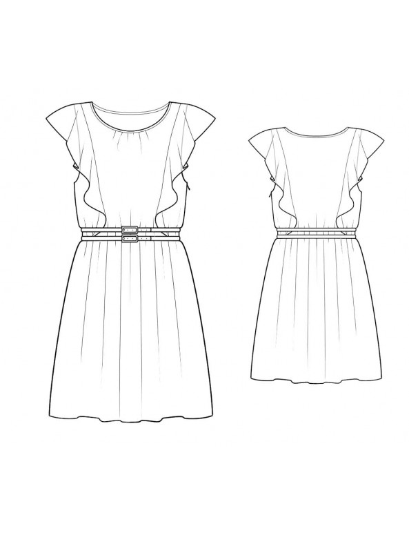 Fashion Designer Sewing Patterns - V-Neck Sleeveless Dress With Pleated A-Line Skirt