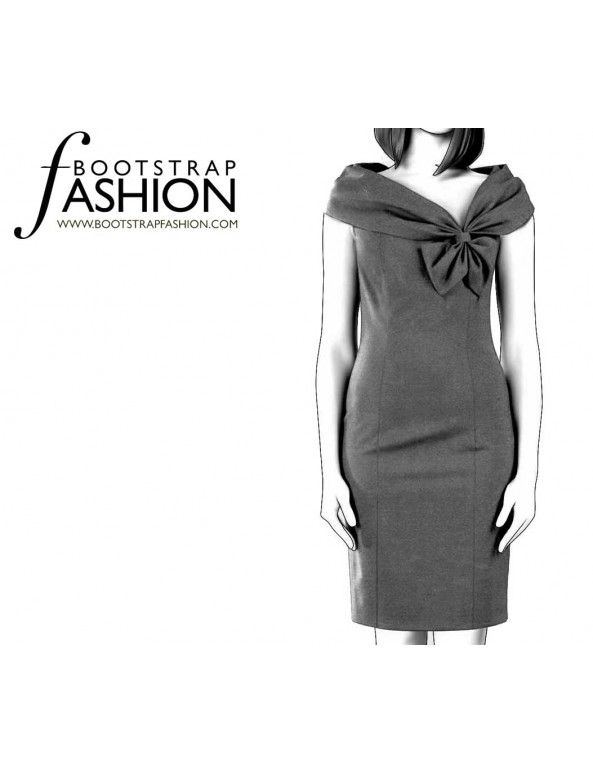 Fashion Designer Sewing Patterns - Asymmetrical Neckline Fitted Sheath