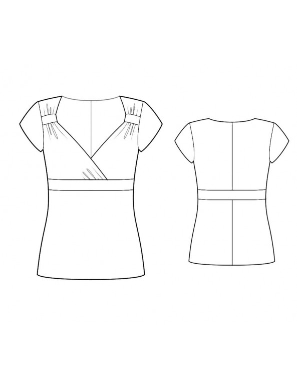 Fashion Designer Sewing Patterns - Sweetheart Top With Surplice Neckline With Empire Waistband