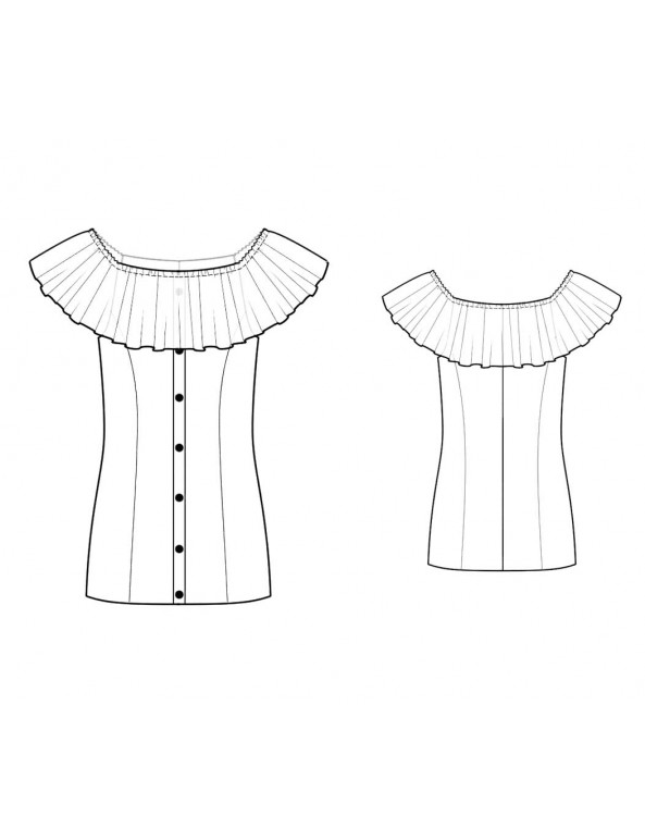Fashion Designer Sewing Patterns - Button Front Carmen Blouse With Wide Ruffle
