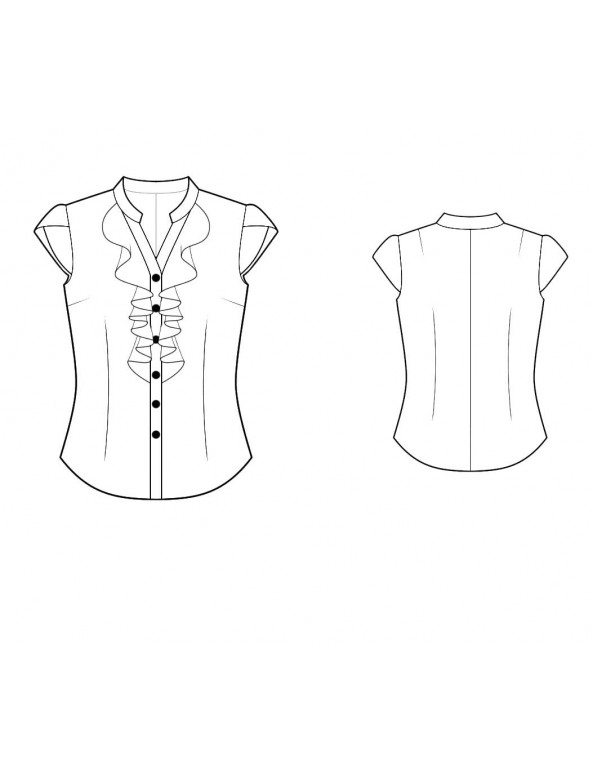 Fashion Designer Sewing Patterns - Buttonfront V-Neck Blouse With Front Ruffles and Petal Sleeves