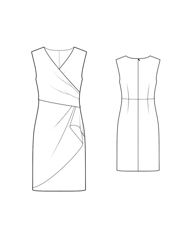 Fashion Designer Sewing Patterns - Surplice Dress With Draped Skirt