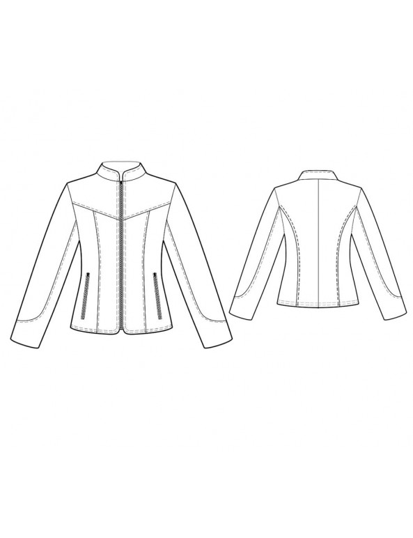 Fashion Designer Sewing Patterns - Fitted Zipper-Front Jacket