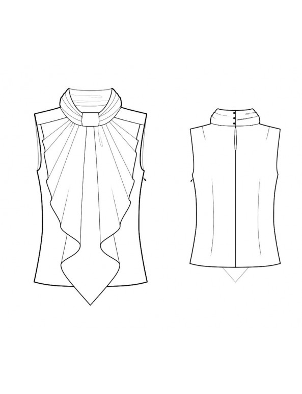 Fashion Designer Sewing Patterns - Blouse With Ruched Stand Collar and Large Front Jabot Ruffle