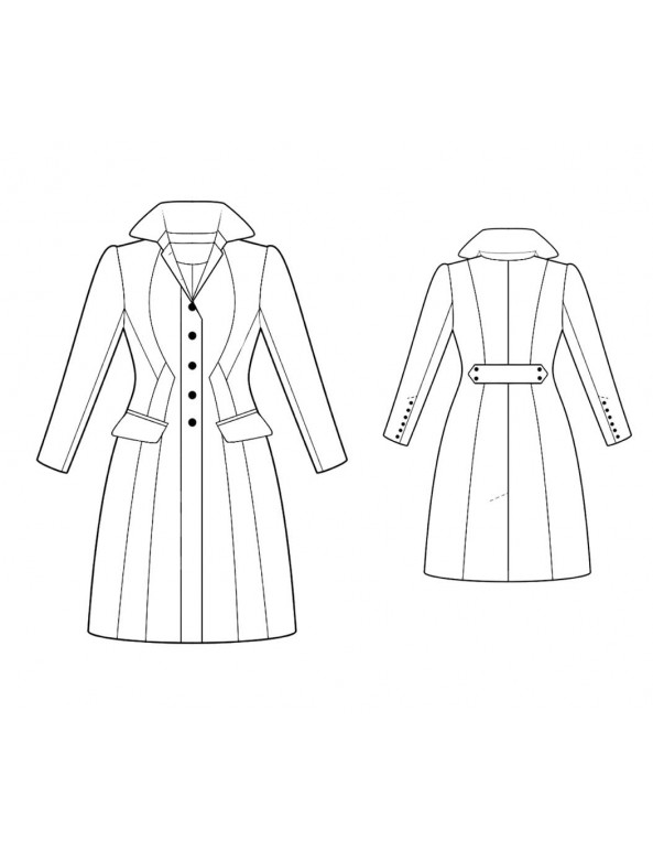 Fashion Designer Sewing Patterns - Multi-Seamed Fitted Coat with Elizabethan Collar