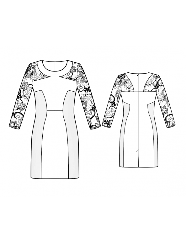 Fashion Designer Sewing Patterns - Sculped Sheer Sleeves Dress