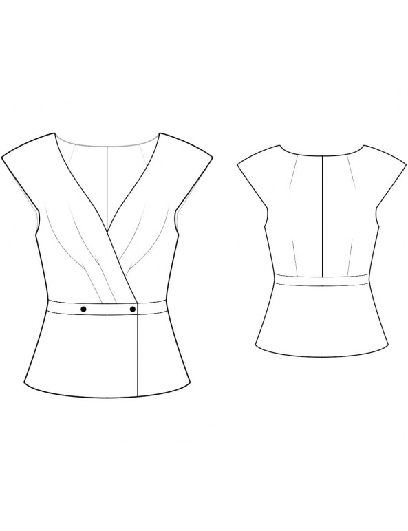 Fashion Designer Sewing Patterns - Capped-Sleeve V-Neck Jacket